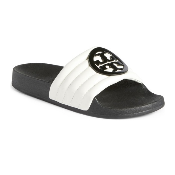 530c677c4ca1 NIB Tory Burch Lina Quilted Logo Slide Sandal